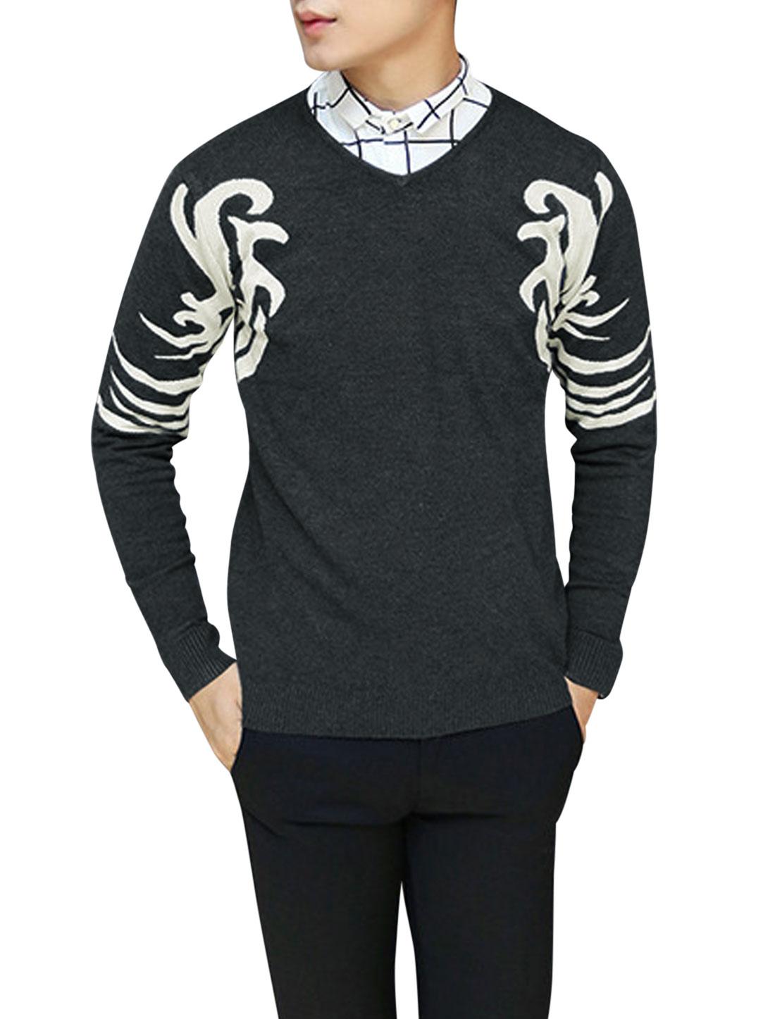 Men Pullover Novelty Pattern Long Sleeve Leisure Knit Shirt Dark Gray S