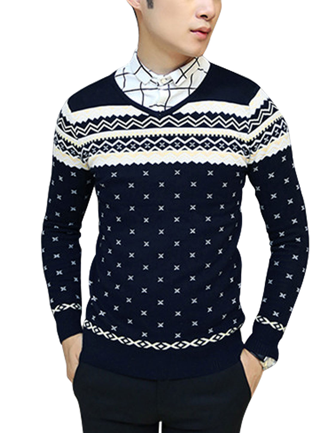 Men Novelty Pattern Long Sleeve Slipover Leisure Knit Shirt Navy Blue S