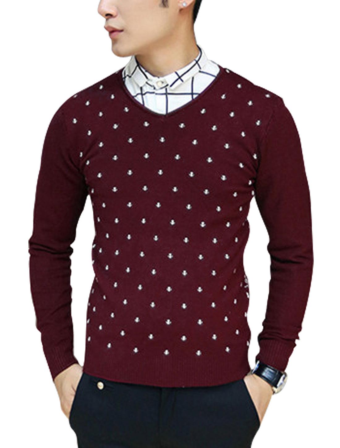 Men V Neck Long Sleeve Anchor Checks Pattern Ribbed Trim Knit Shirt Burgundy S