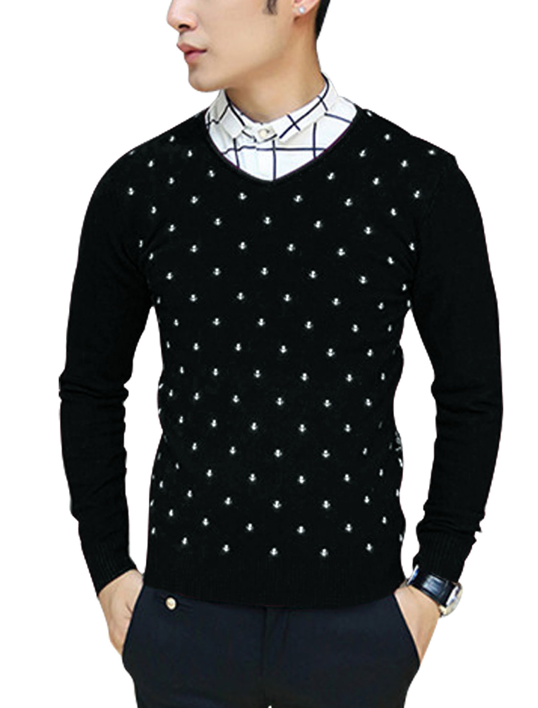 Men Slipover Anchor Pattern Ribbed Hem Leisure Slim Knit Shirt Black S