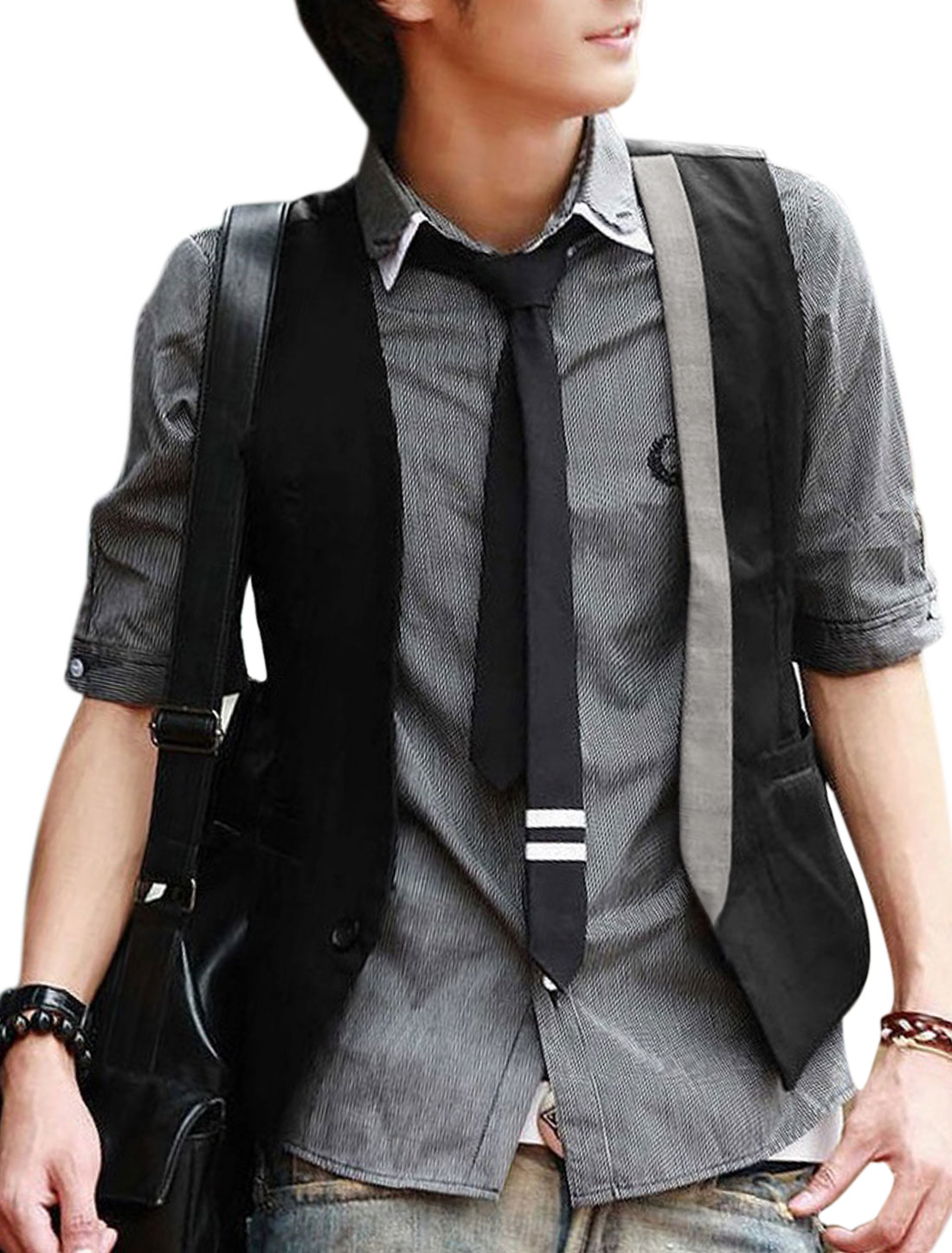 Men Deep V Neck One Button Closure Metal Buckle Back Casual Vests Black S