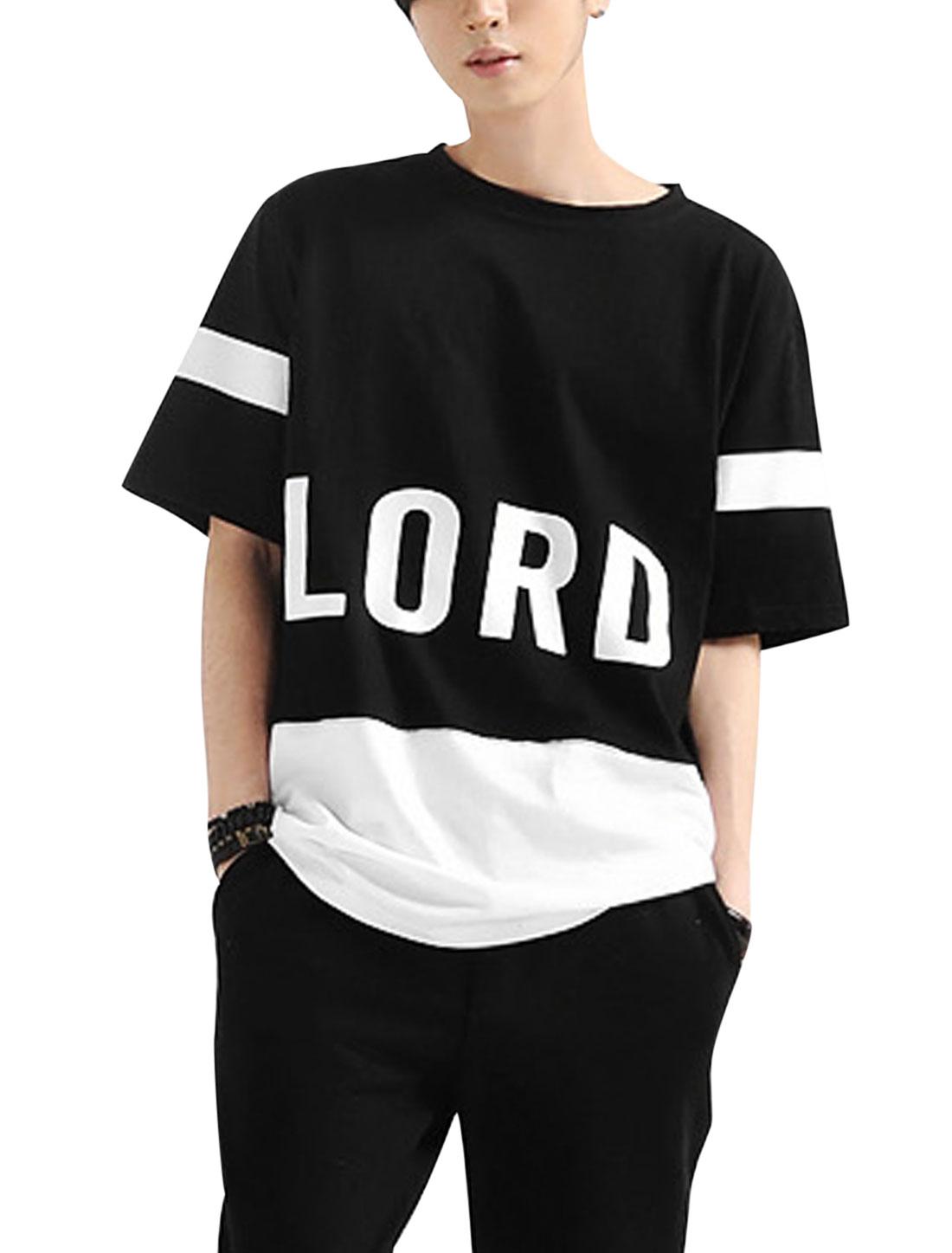 Men Round Neck Letters Pattern Color Block Casual Shirt Black White M