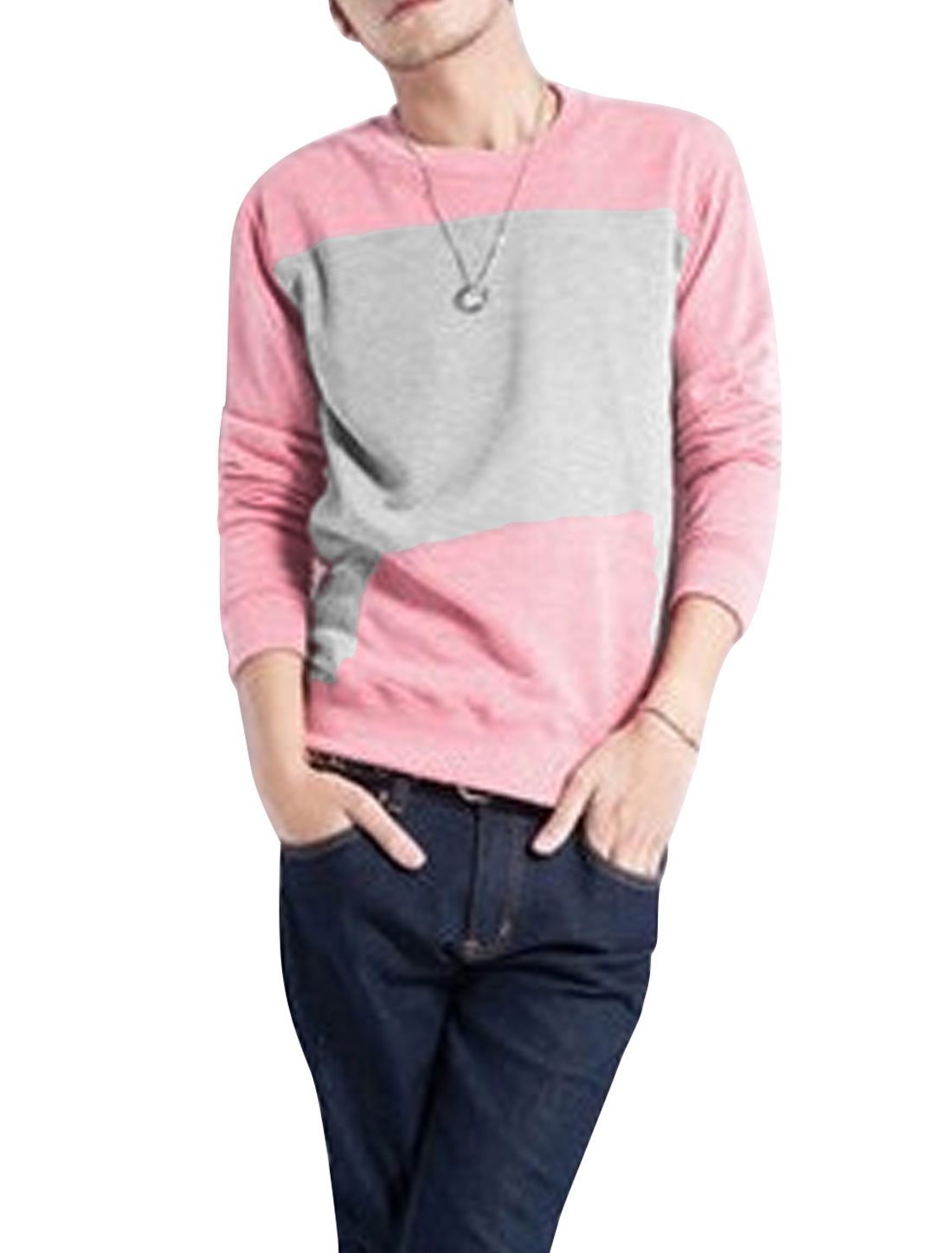 Men Round Neckline Color Block Slim Fit Casual T-Shirt Pink Light Gray M