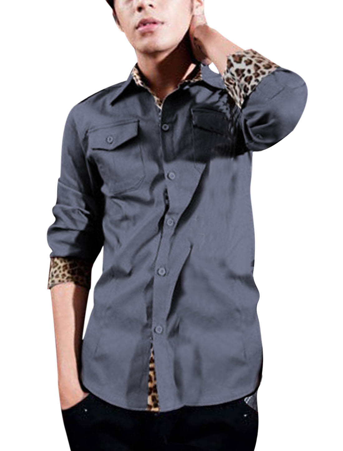 Men Point Collar Single Breasted Leopard Detail Casual Top Shirt Gray M