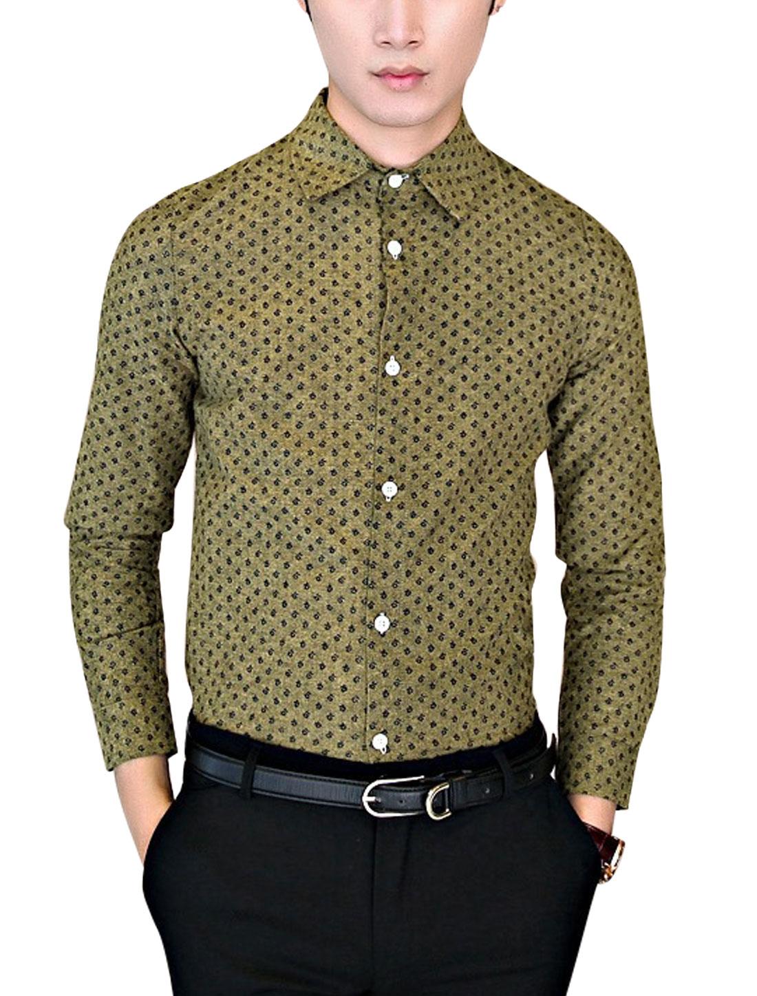 Men Floral Pattern Single Breasted Round Hem Casual Shirt Dark Khaki M