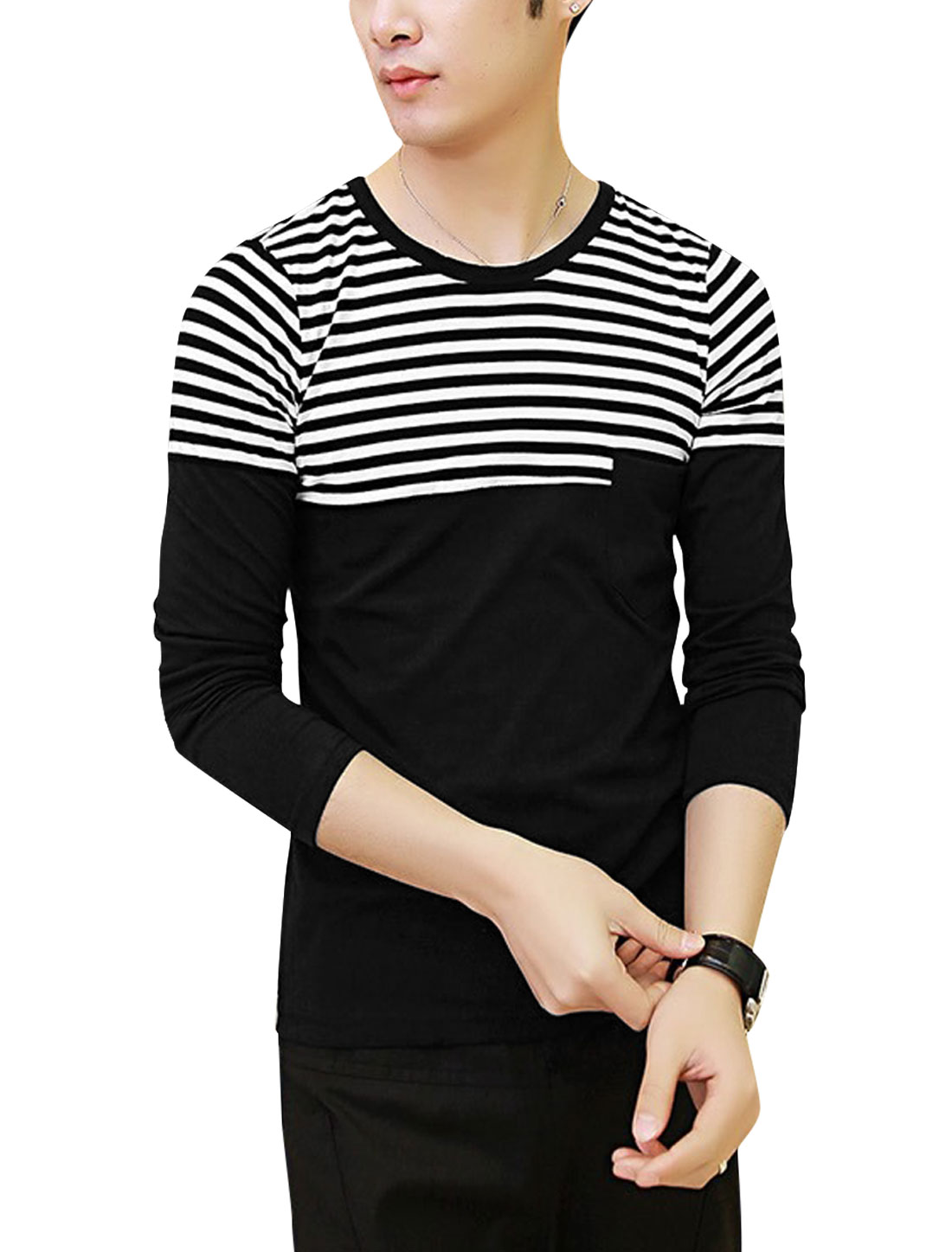 Men Stripes Pattern One Pocket Chest Slim Fit Shirt Black M