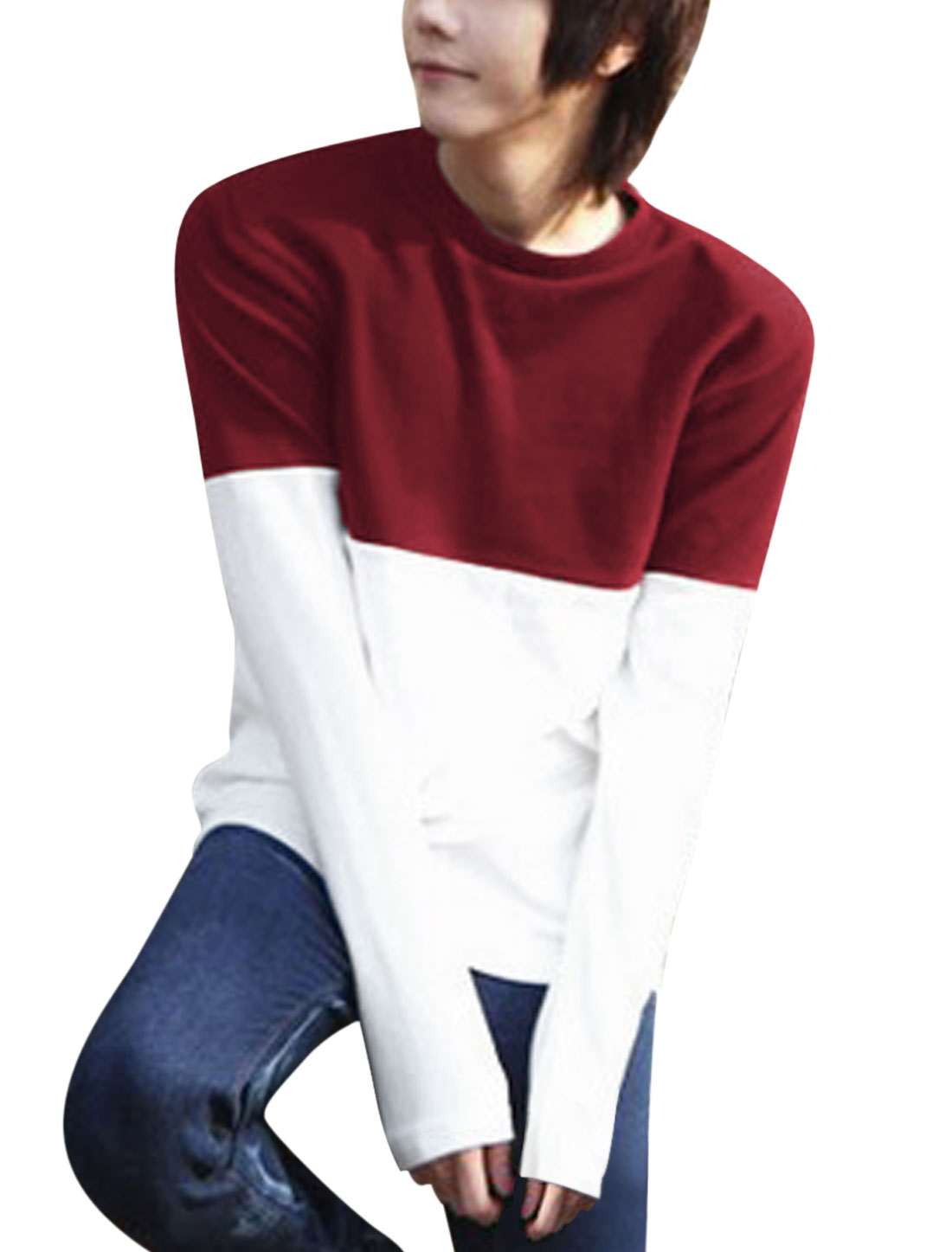 Men Round Neck Color Block Soft Casual Tee Shirt Burgundy White M
