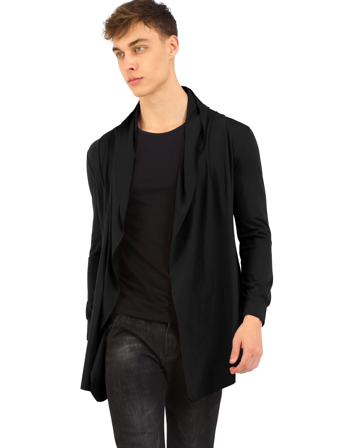 Men Shawl Collar Front Opening Side Pockets Asymmetric Hem Long Cardigan Black M
