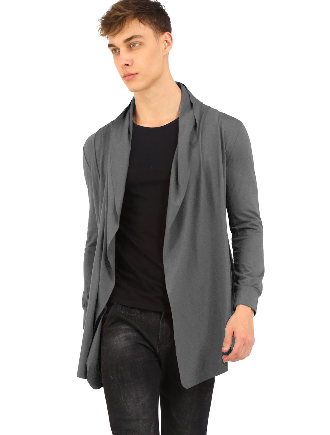 Men Front Open Side Pockets Irregular Hem Leisure Long Cardigan Gray M