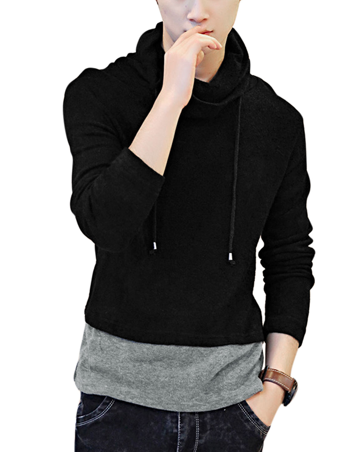 Men Cowl Neck Drawstring Contrast Color Casual Knit Top Black M