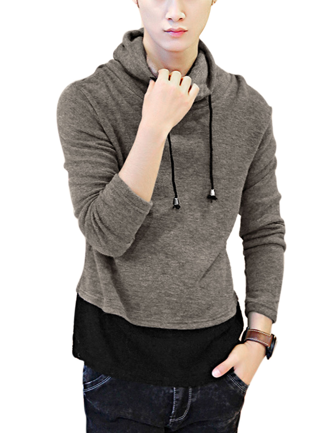 Men Cowl Neck Drawstring Colorblock Casual Knit Top Dark Beige M