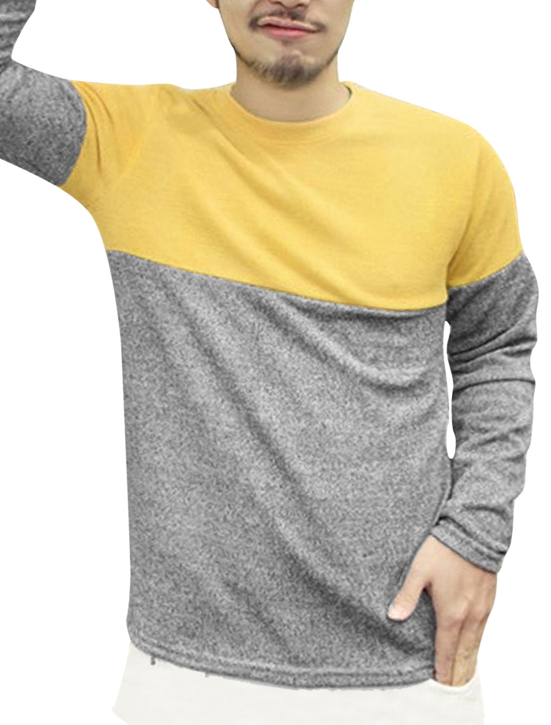 Men Round Neck Color Block Slim Fit Casual T-Shirt Yellow Gray M