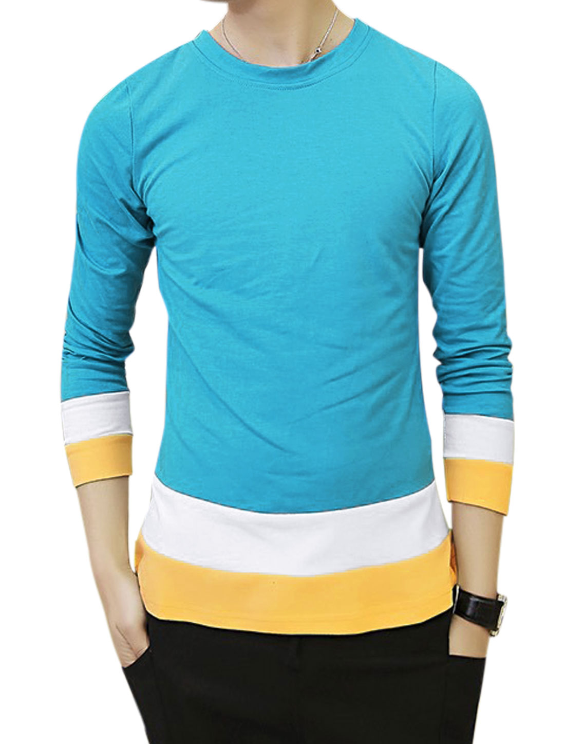 Men Long Sleeves Panel Contrast Color Casual Shirt Blue S