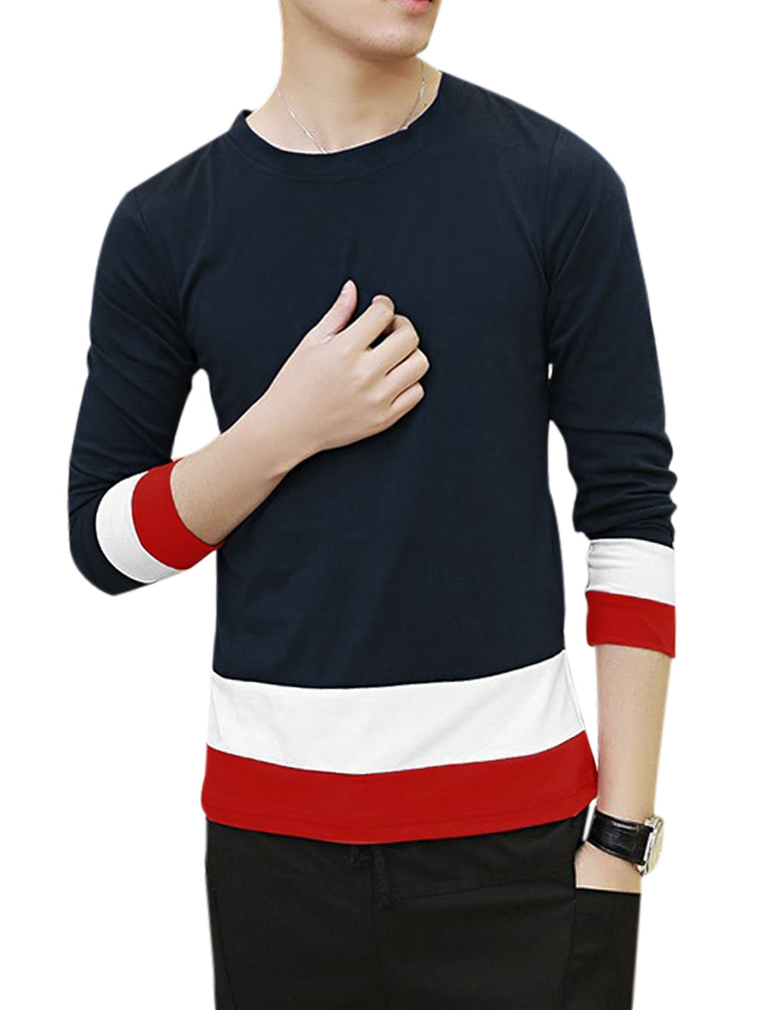 Men Long Sleeves Panel Color Block Pullover Casual Shirt Navy Blue S