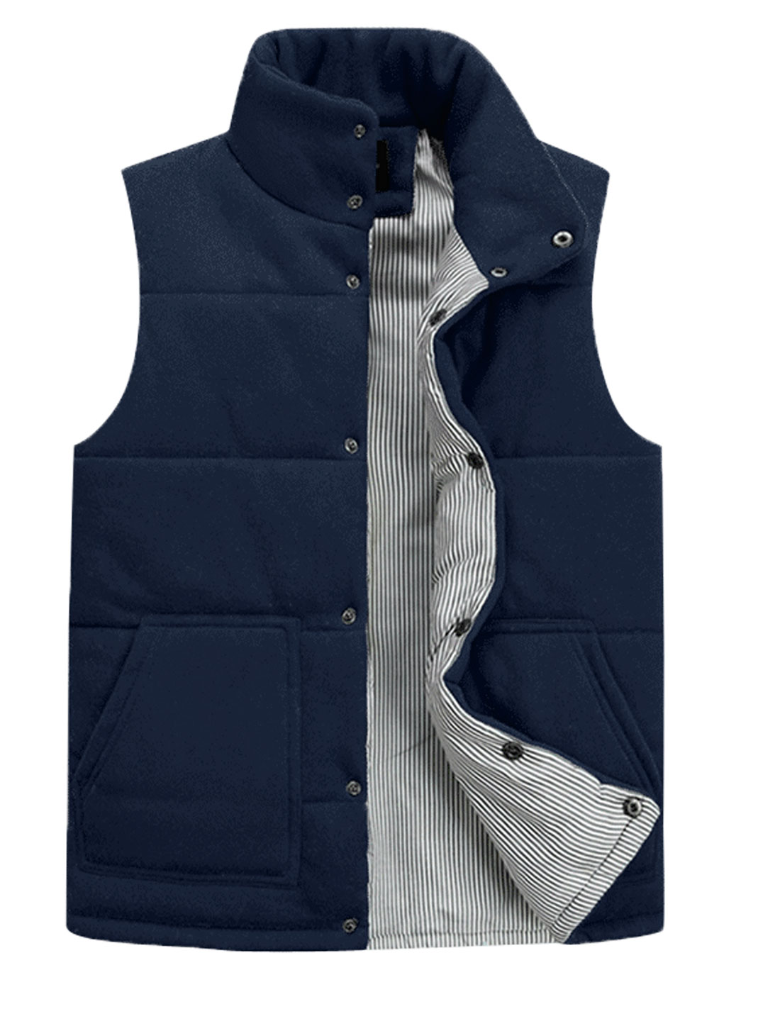 Men Stand Collar Single Breasted Stylish Padded Vest Navy Blue M