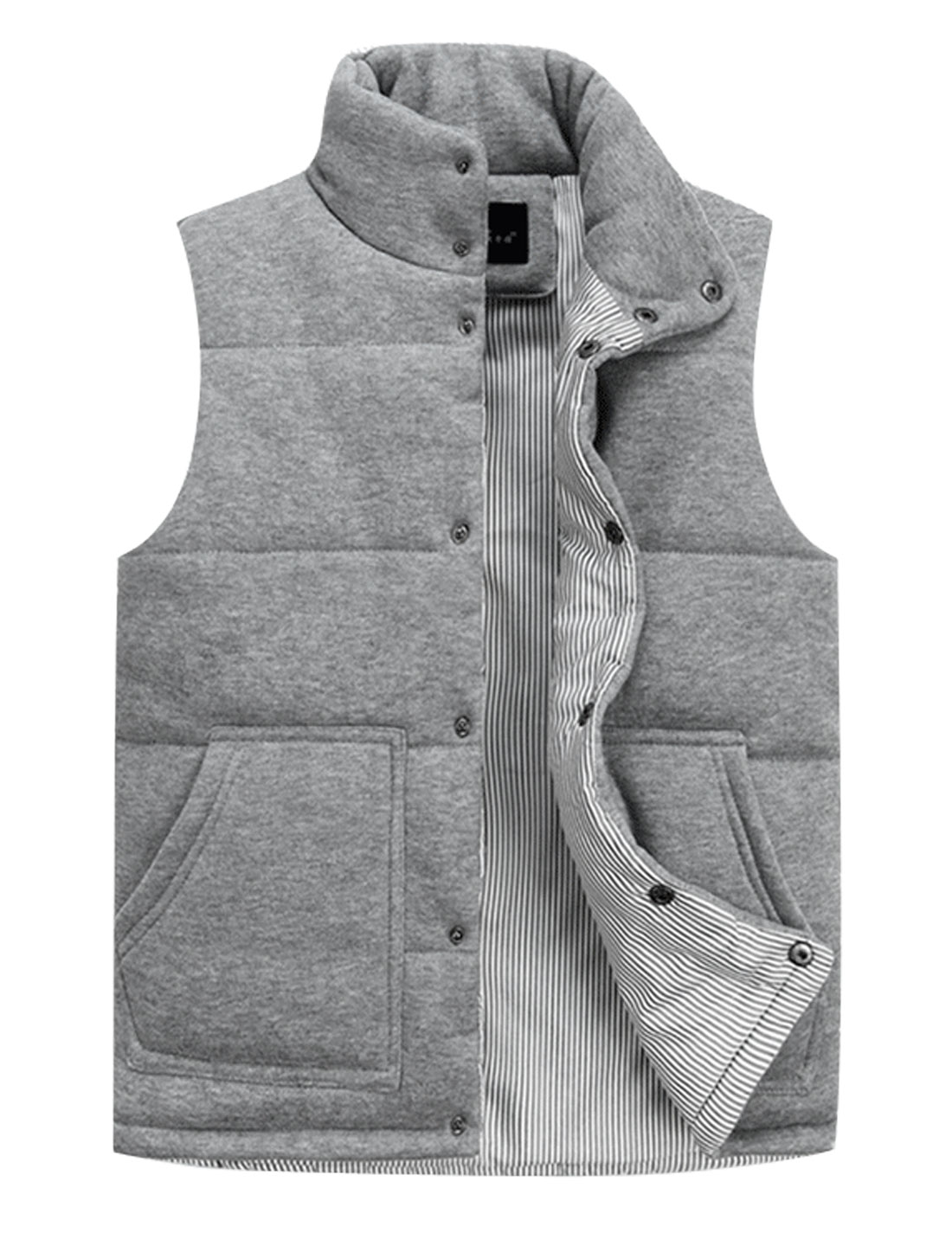 Men Stand Collar Stripes Lined Cozy Fit Padded Vest Light Gray M