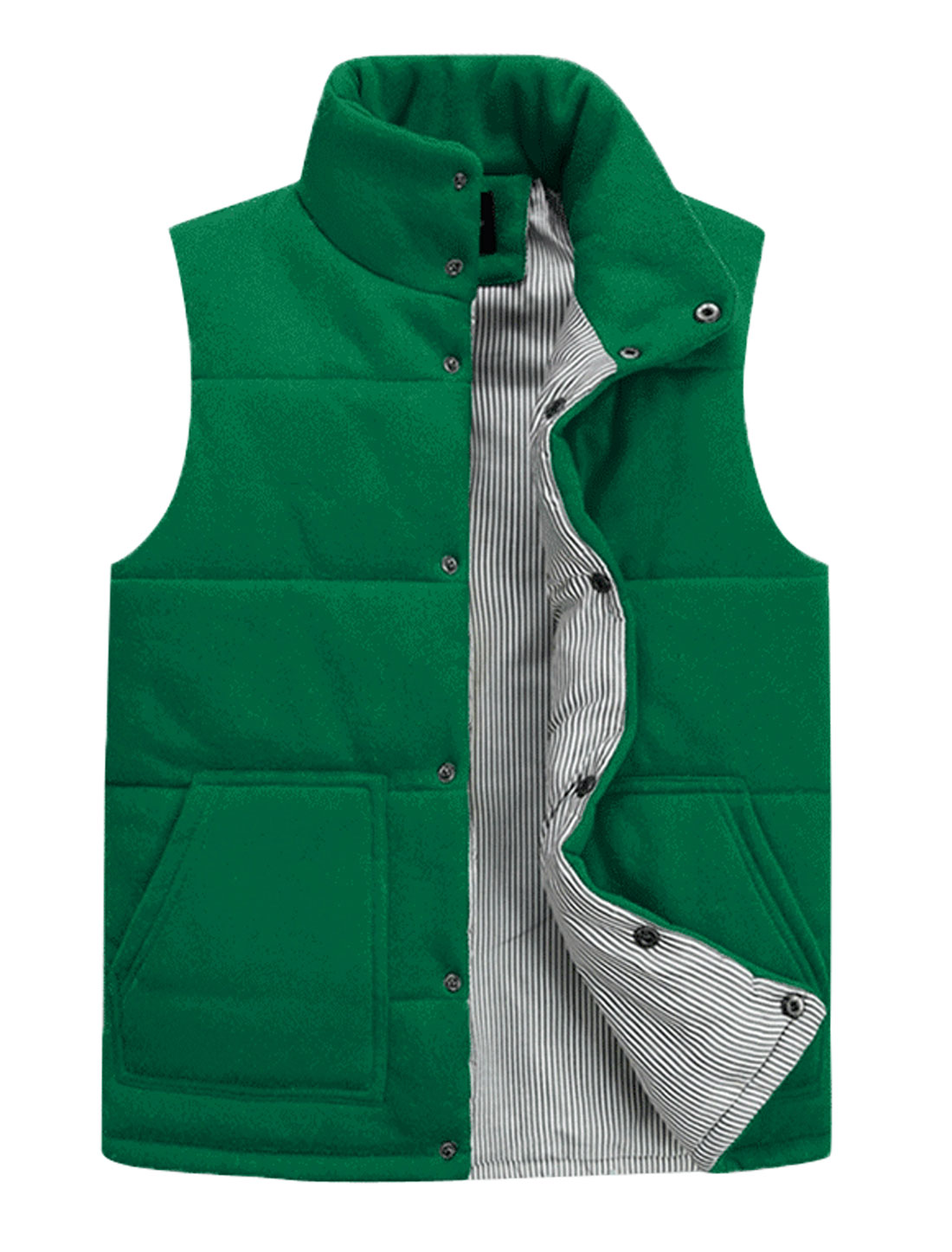 Cozy Fit Button Closure Front Stripes Lined Padded Vest for Men Dusty Green M