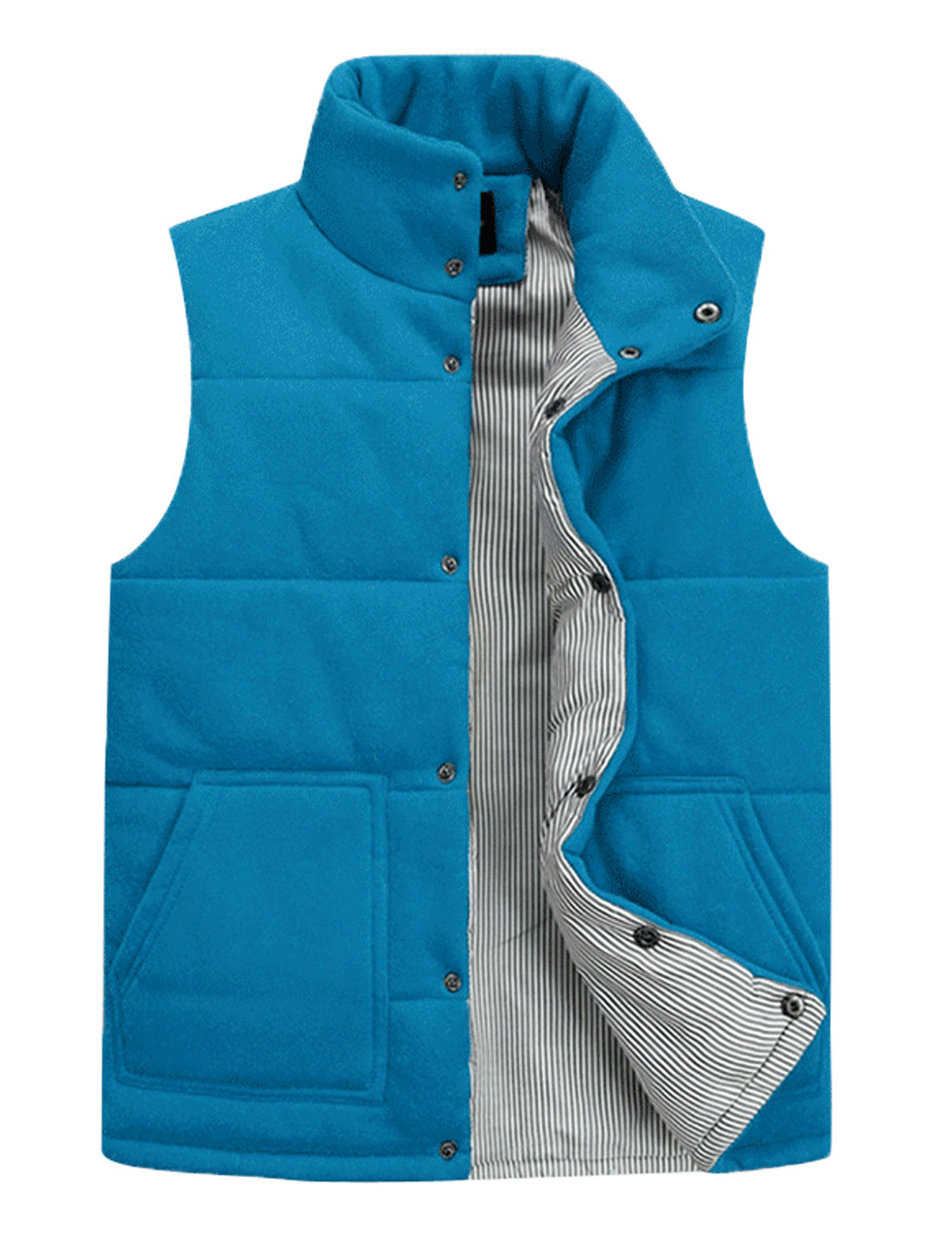 New Style Stand Collar Stripes Lined Padded Vest for Men Blue M