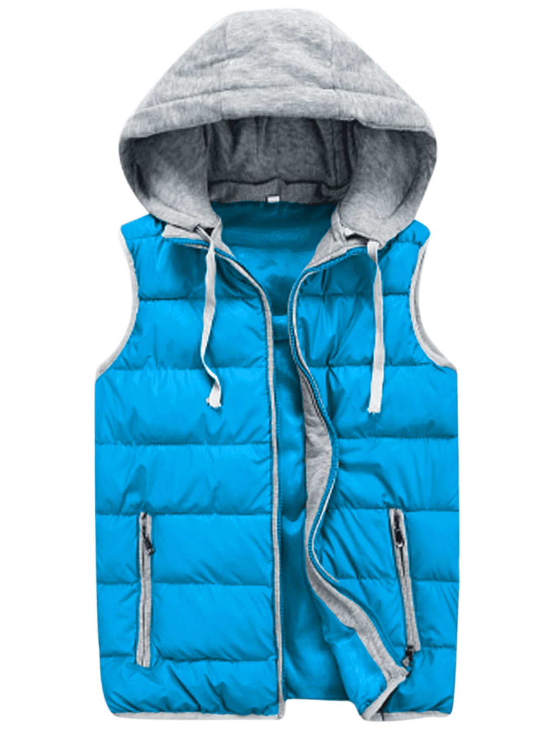 Men Moved Hooded Design Zipper Fly Casual Padded Vest Sky Blue M