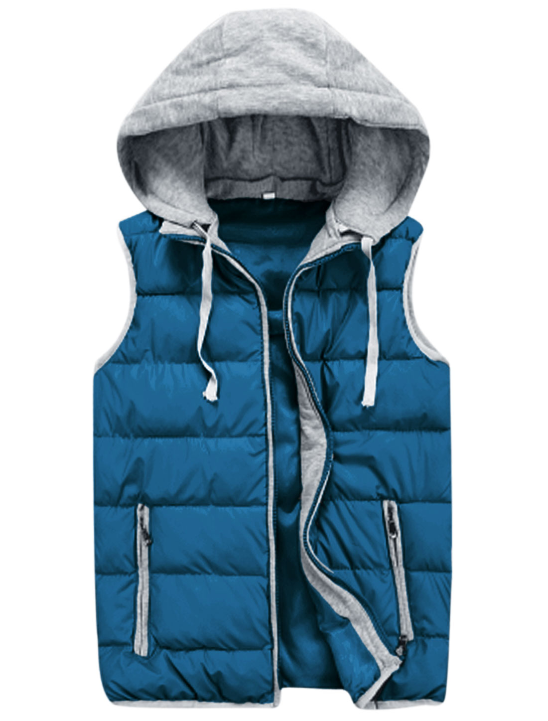 Men Moved Hooded Design Double Slant Pockets Leisure Padded Vest Turquoise M