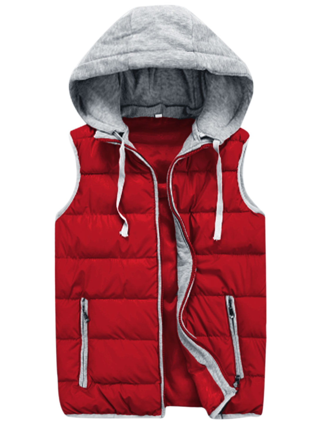 Men Zipper Fly Interior Pockets Fashion Padded Vest Red M