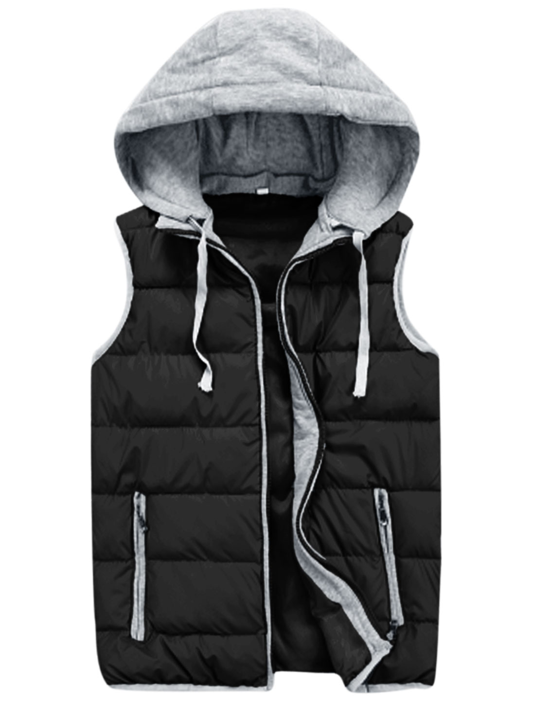 Cozy Fit Moved Hooded Design Casual Padded Vest for Men Black M