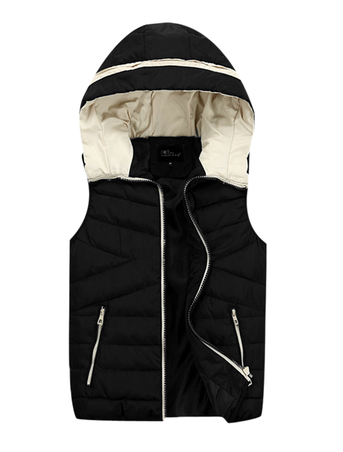 Men Hooded Design Zipper Fly Fashion Casual Padded Vest Black M