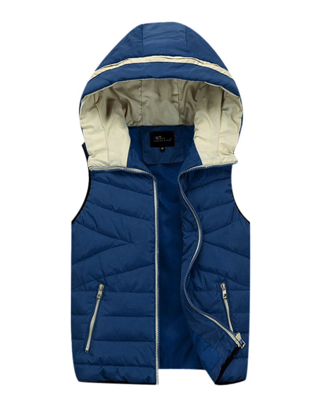 Men Hooded Design Double Slant Pockets Front Casual Padded Vest Baby Blue M