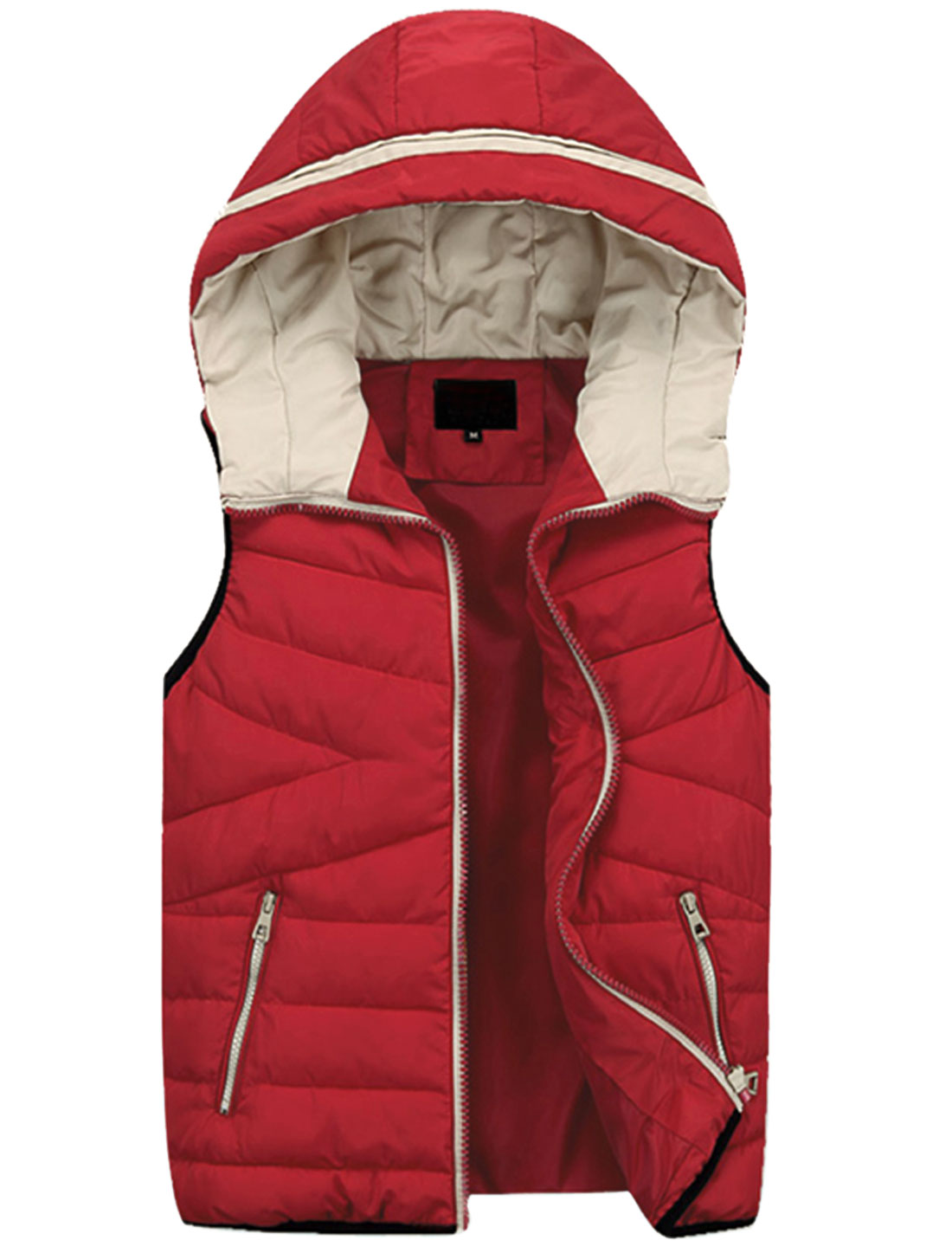 Men Hooded Design Zipper Fly Fashion Padded Vest Red M