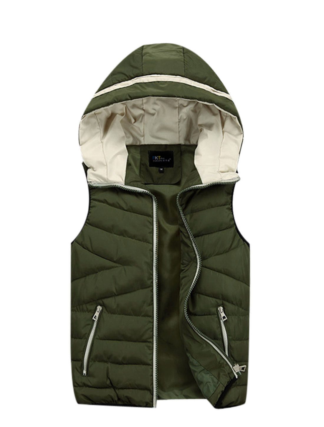 Cozy Fit Casual Zipper Fly Sleeveless Padded Vest for Men Army Green M