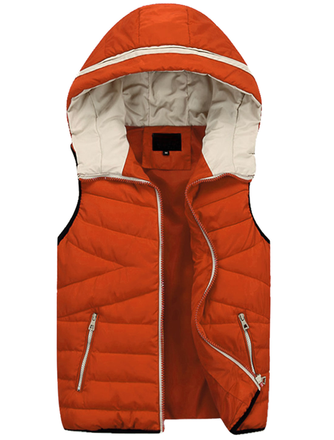 New Style Double Slant Pockets Front Leisure Padded Vest for Men Orange M