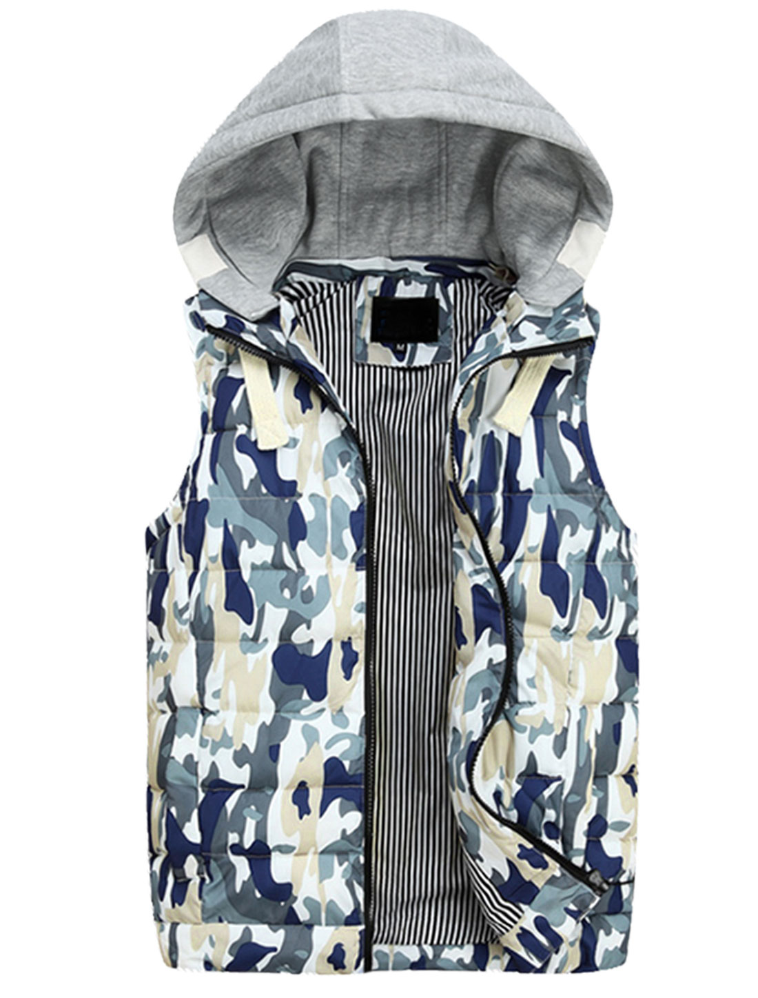 Men Moved Hooded Design Camouflage Print Casual Padded Vest Navy Blue Khaki M
