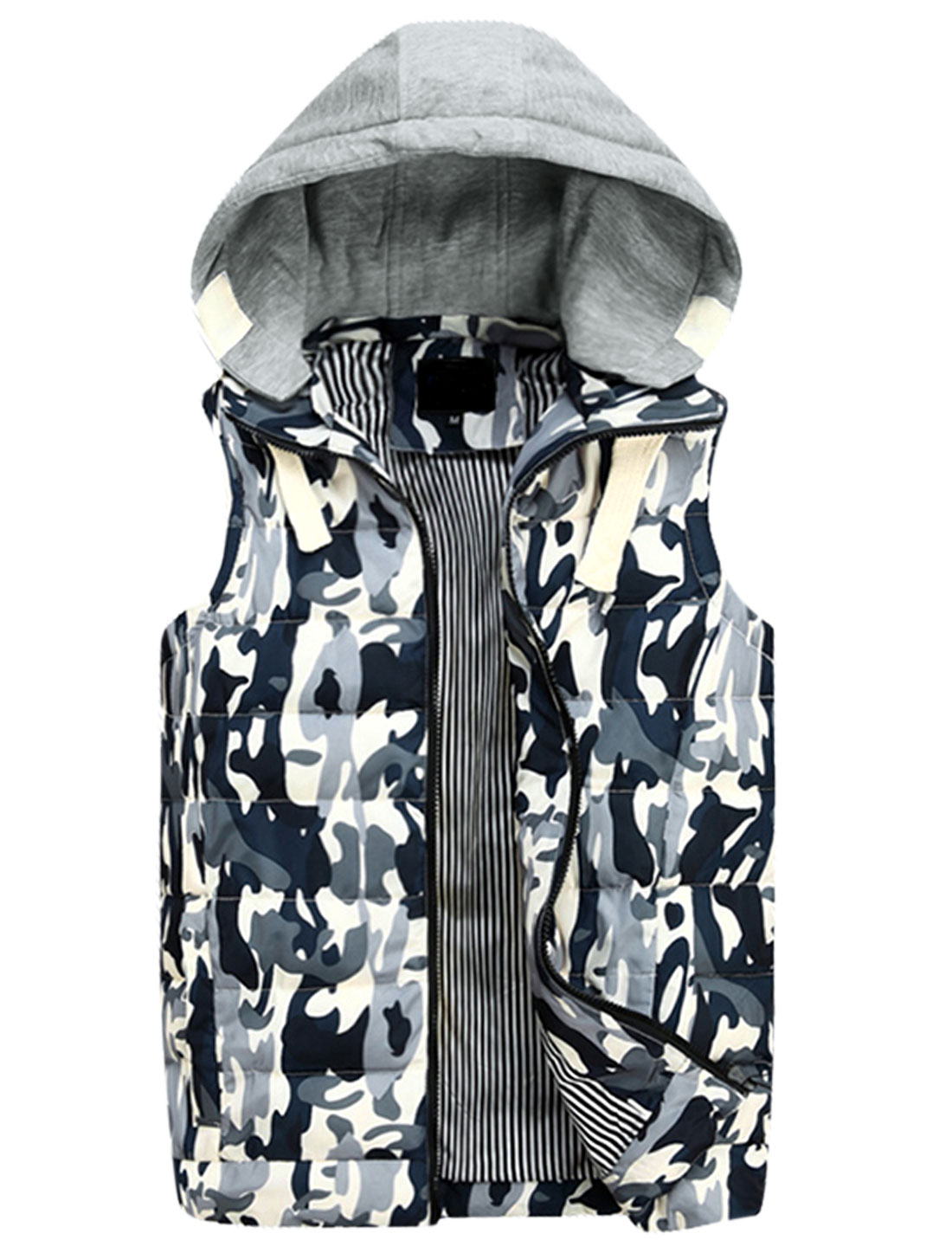 Men Zipper Fly Sleeveless Camouflage Print Casual Padded Vest Navy Blue Gray M