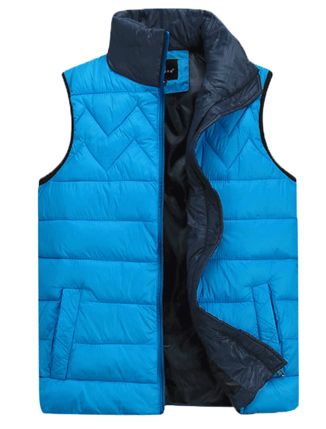 Men Stand Collar Full Zip Stylish Casual Padded Vest Sky Blue M