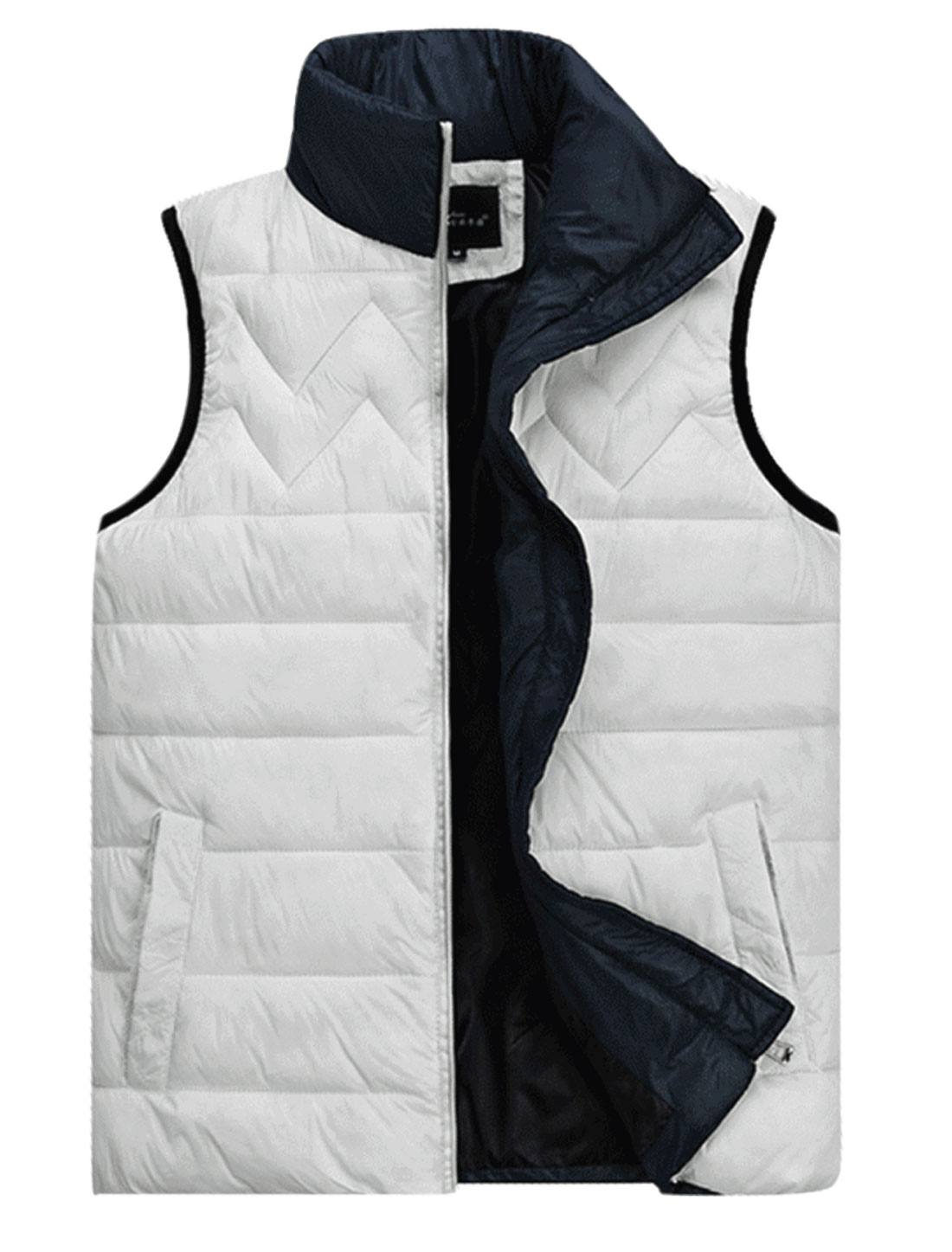 Men Stand Collar Double Slant Pocket Front Casual Padded Vest White M