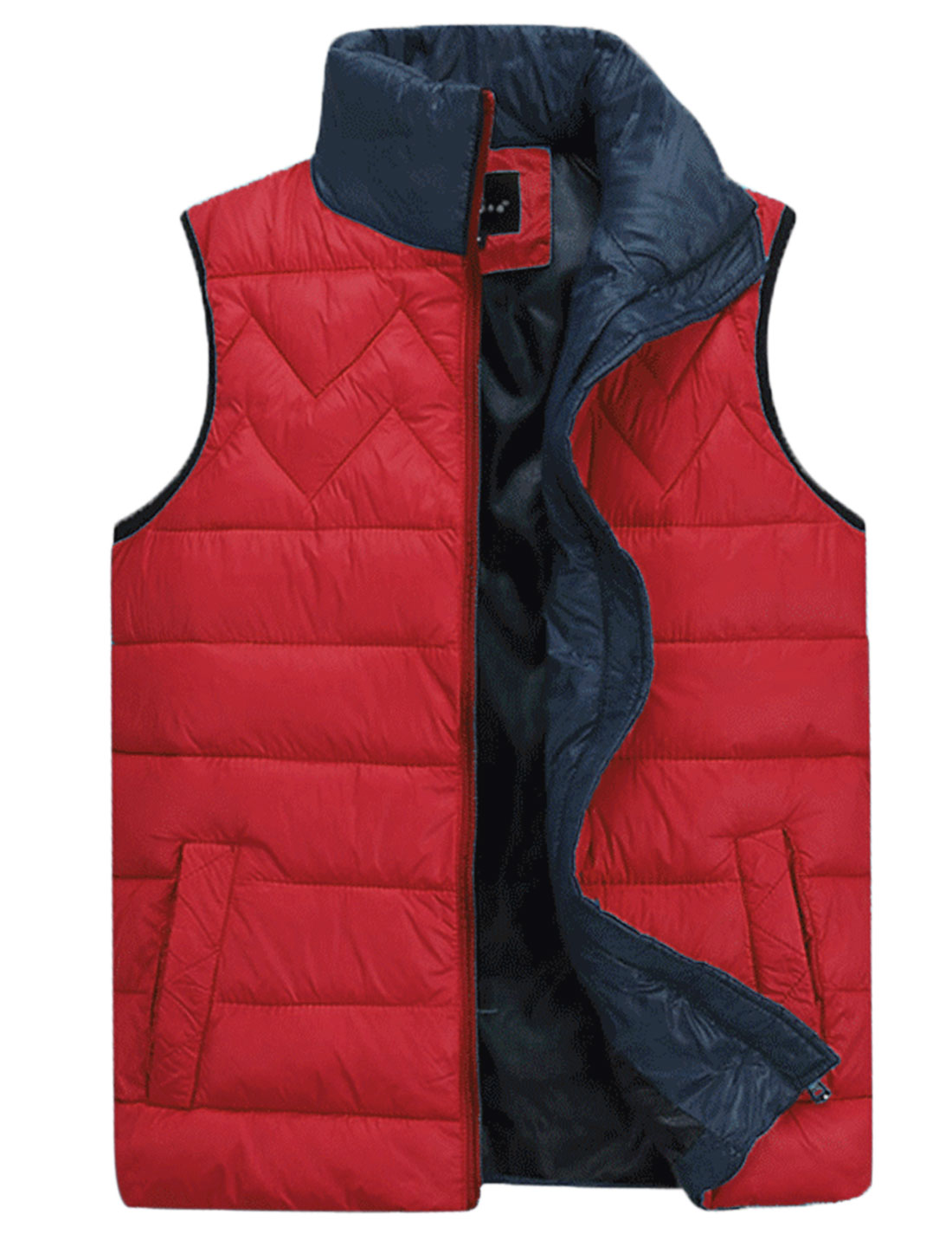 Men Stand Collar Interior Pockets Fashionable Padded Vest Red M