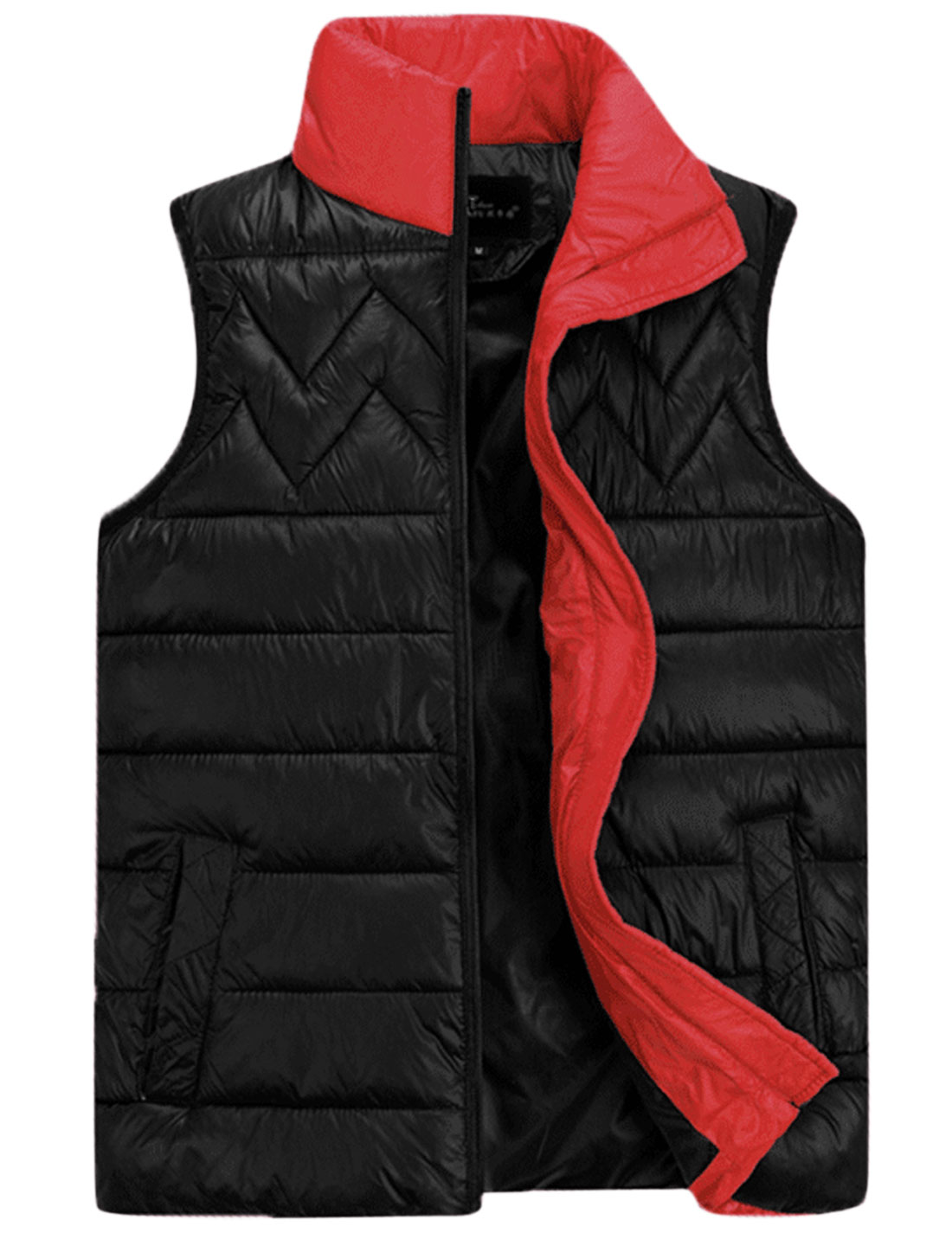 Cozy Fit Full Zip Interior Pockets Stylish Padded Vest for Men Black M
