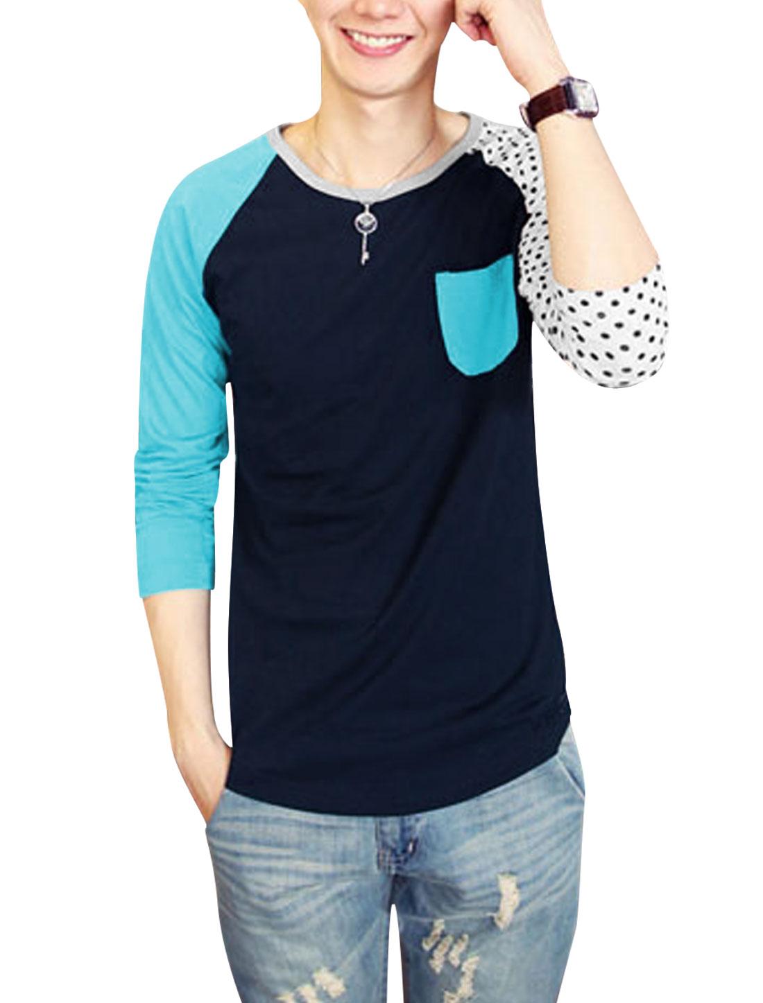 Men Dots Detail Color Block One Pocket Chest Cozy Fit Top Shirt Multicolor S
