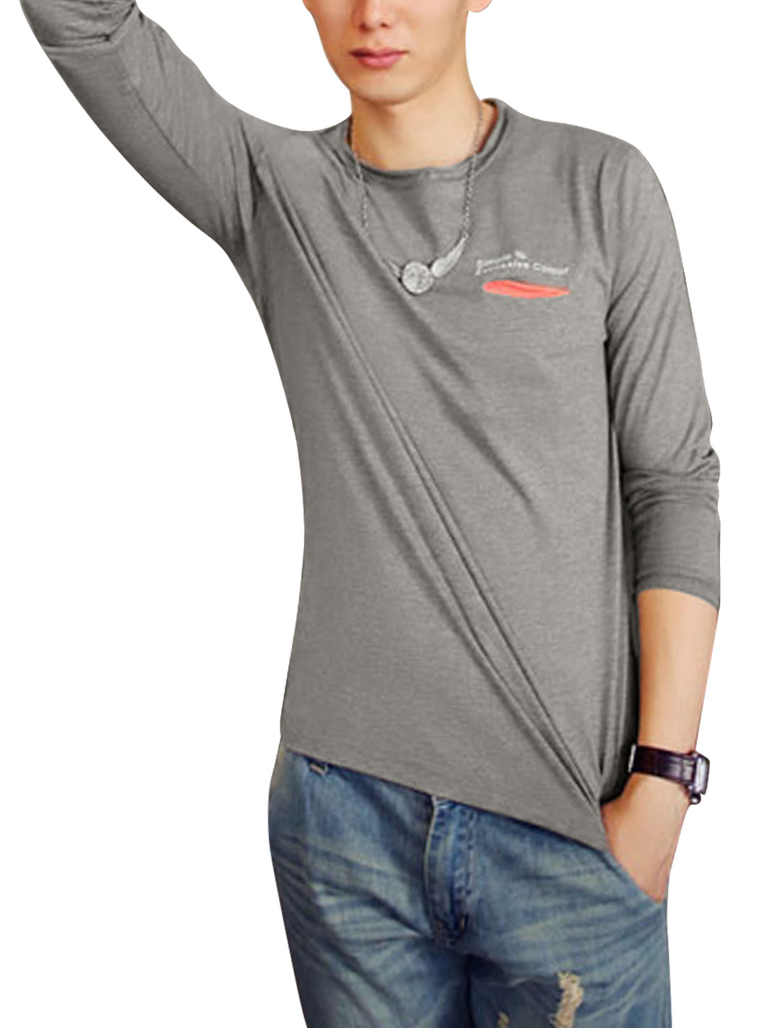 Men Single Welt Pocket Slipover Slim Tee Shirt Gray S