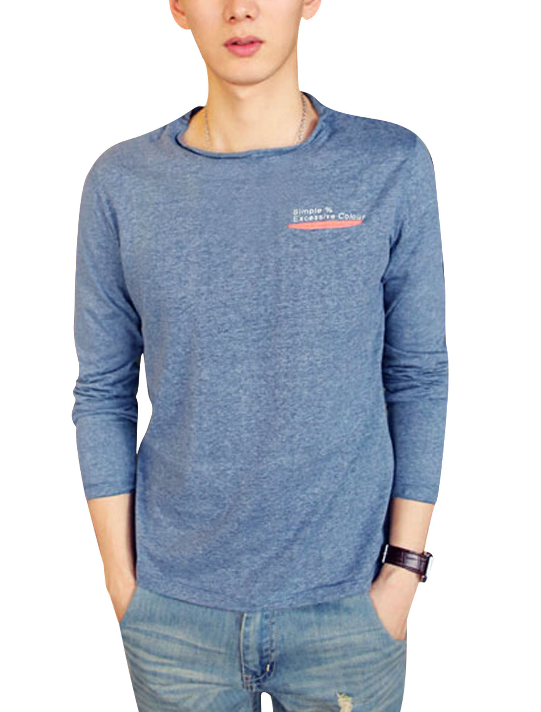 Men Fashion Style Pullover Single Welt Pocket Slim T-shirt Cool Gray S