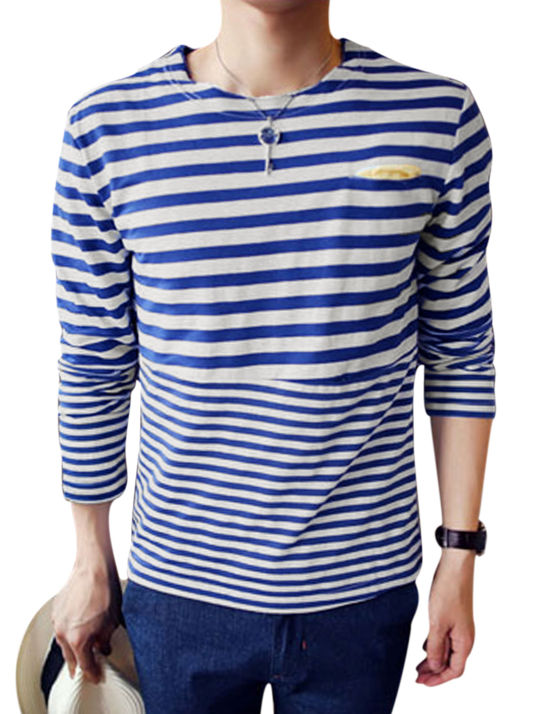 Men Stripes Pattern One Pocket Chest Casual Top Shirt Blue White M