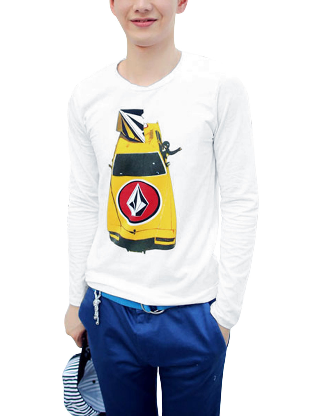 Men Pullover Round Neck Car Pattern Casual Top Shirt White M