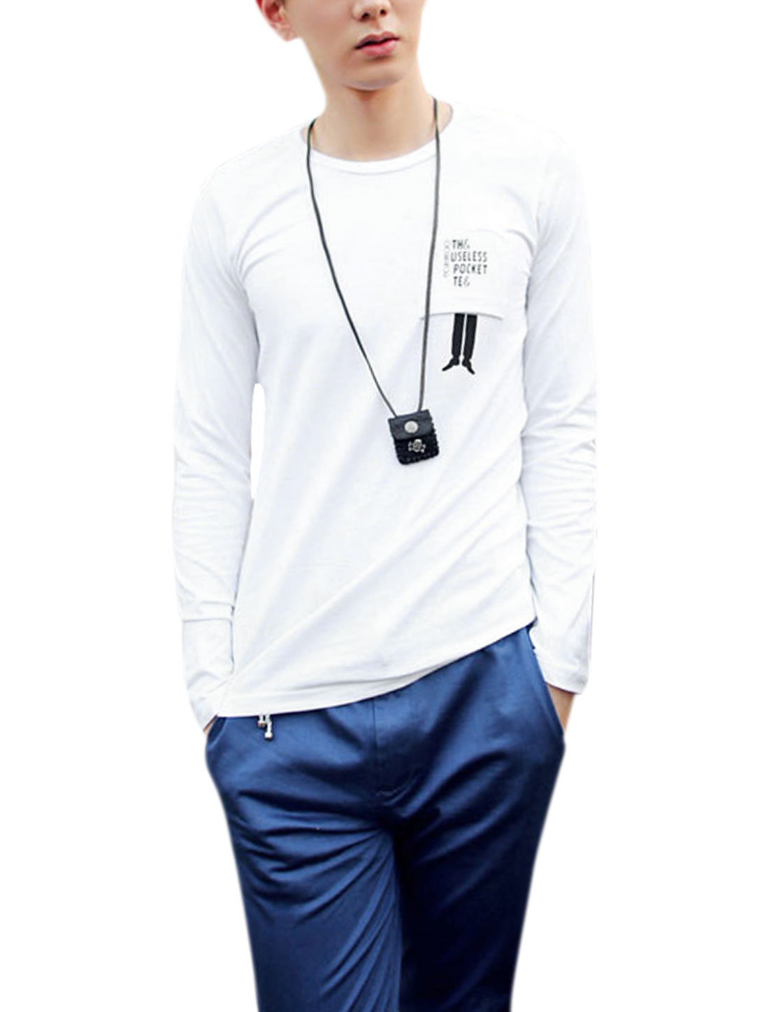 Men Round Neck Letters Detail Fashionable Casual Shirt White M