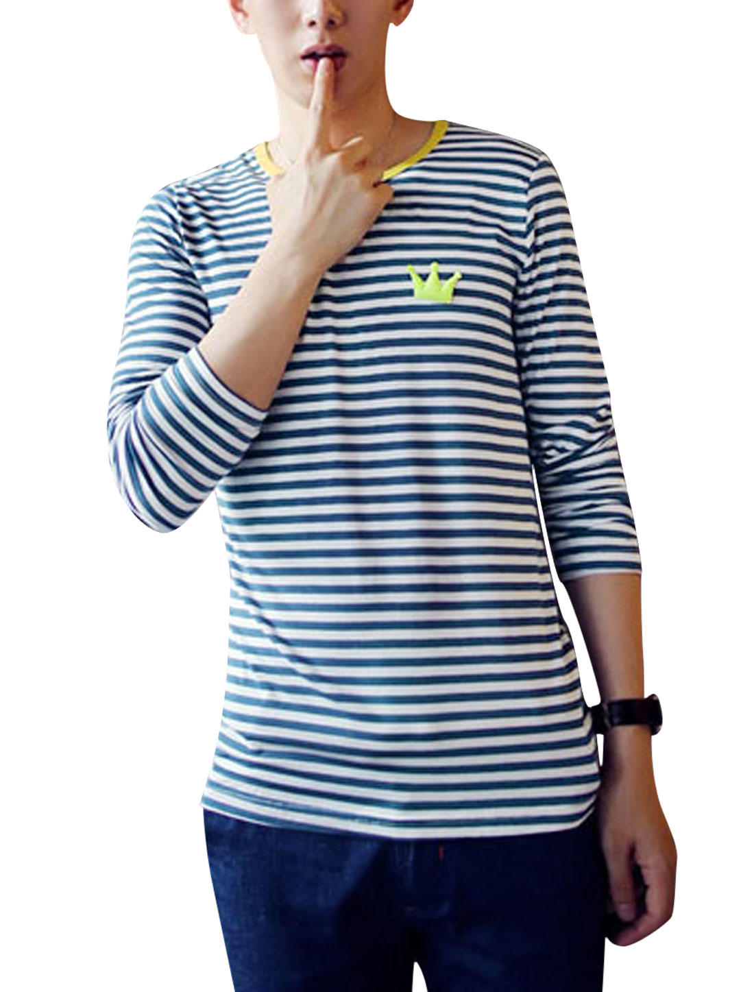 Men Round Neck Stripes Pattern Casual Top Shirt w Brooches Navy Blue M