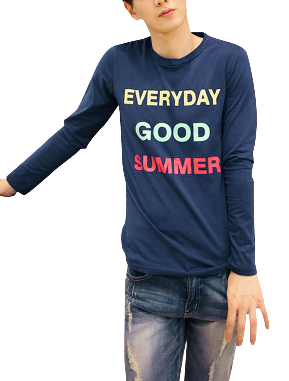 Men Letters Prints Round Neck Long Sleeve Casual Slim T-shirt Navy Blue M