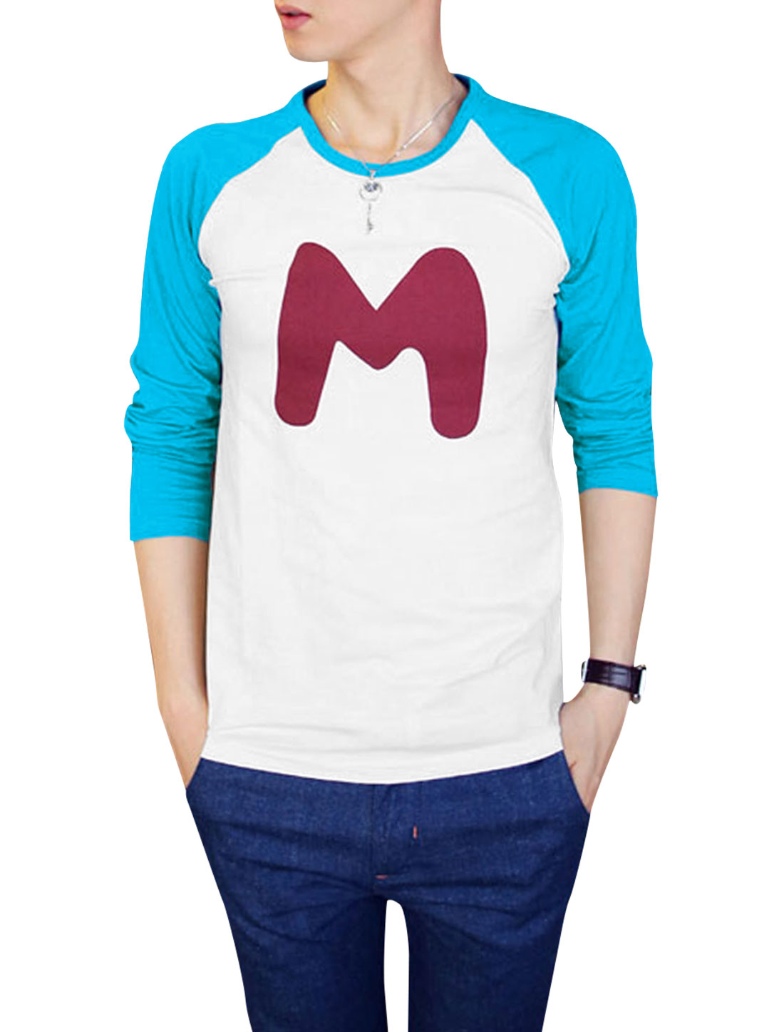 Men Round Neck Letters Pattern Color Block Casual Shirt White Blue S