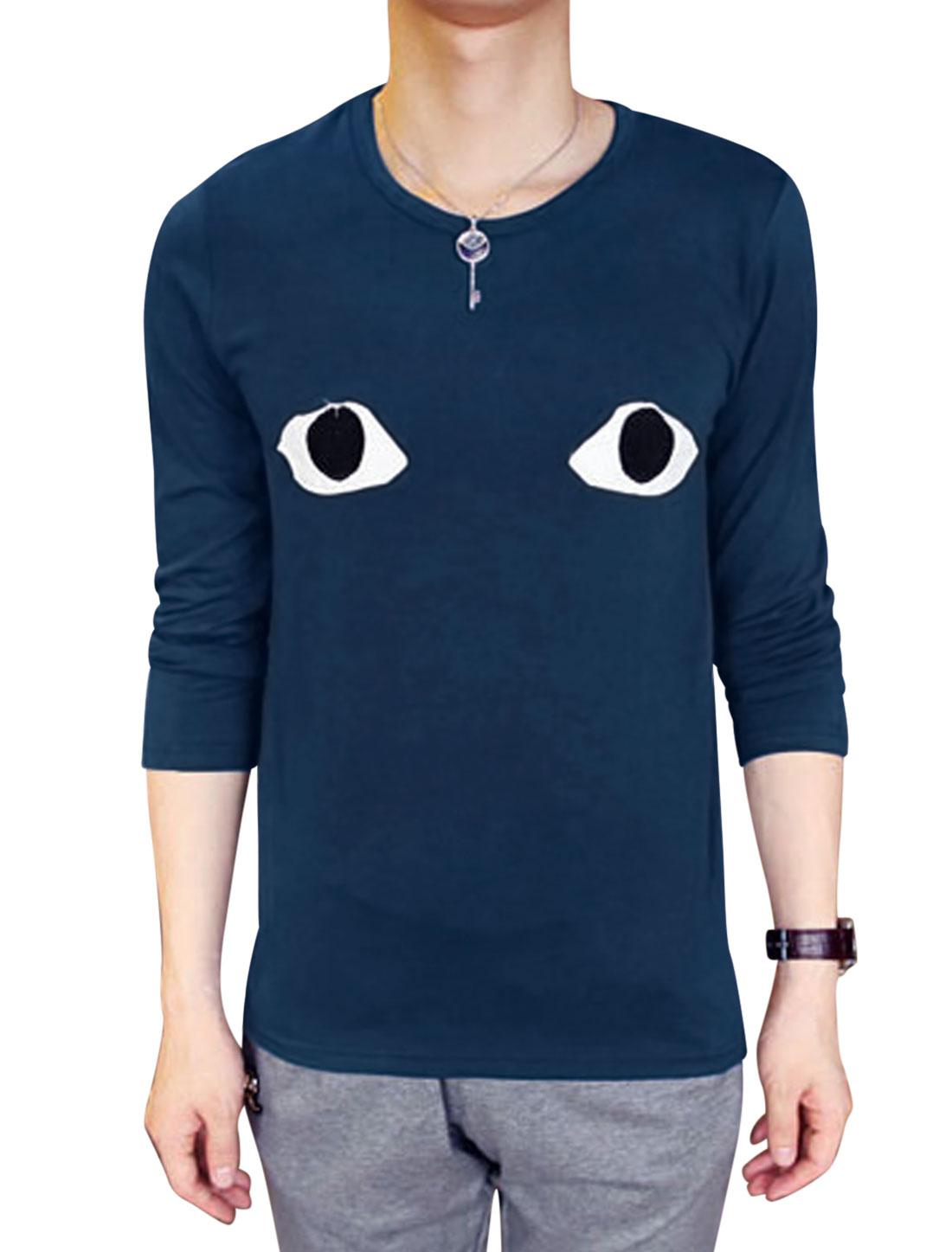 Men Round Neck Applique Pattern Fashion Slim Fit Shirt Navy Blue M