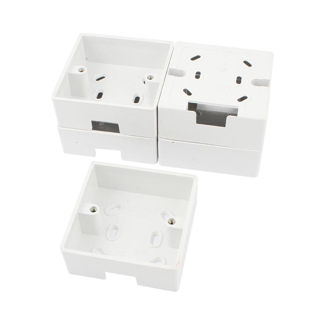 5 Pcs Flush Mount Single Gang PVC Pattress Back Box White 85x85x34mm