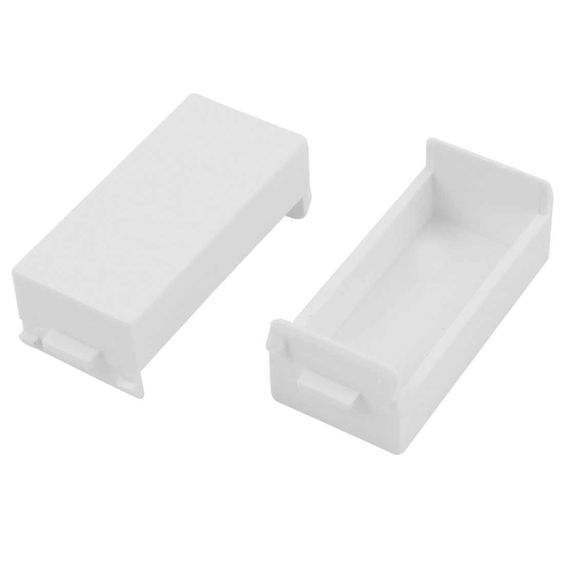 2 Pcs White Plastic Blank Wall Plate Single Position Socket Cover