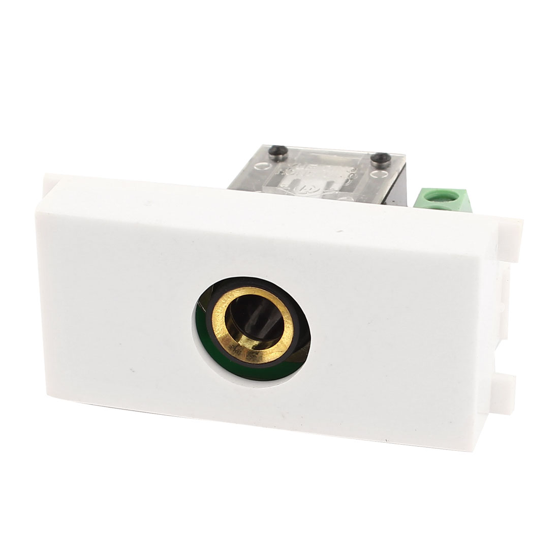 6.35mm Stereo Audio Jack Female Wall Plate Socket Adapter White